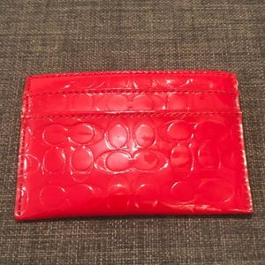 Red coach mini wallet